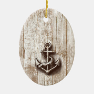 Trendy vintage rustic nautical anchor ceramic ornament
