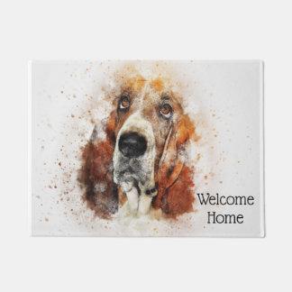 Trendy Watercolor Basset Hound Personalized Doormat