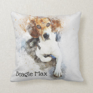 Trendy Watercolor Beagle Dog Personalized Throw Pillow