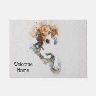Trendy Watercolor Beagle Personalized Doormat