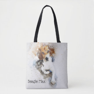 Trendy Watercolor Beagle Personalized Tote Bag