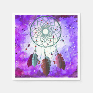 Trendy Watercolor Bohemian Dream Catcher & Nebula Paper Napkin