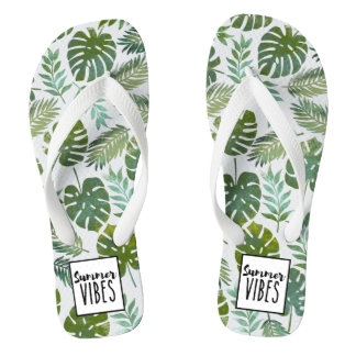 Trendy watercolor botanical floral summer vibes flip flops
