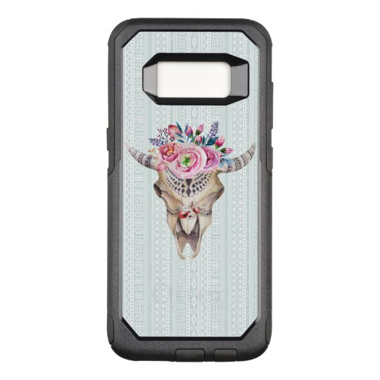 Trendy Watercolor Floral Bull Skull OtterBox Commuter Samsung Galaxy S8 Case