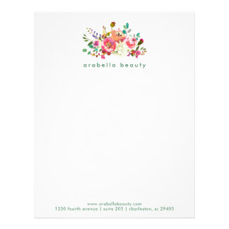 Trendy Watercolor Floral with Business Name Letterhead