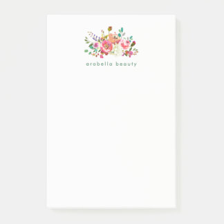 Trendy Watercolor Floral with Business Name Post-it Notes