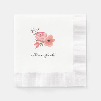 Trendy Watercolor Flowers Baby Shower Disposable Napkin