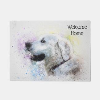 Trendy Watercolor Labrador Retriever Personalized Doormat