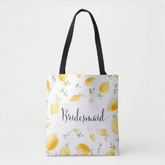 Trendy Watercolor Lemon Wedding Tote Bag