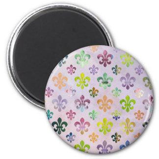 Trendy Watercolor Painting Fleur De Lis Pattern 2 Inch Round Magnet