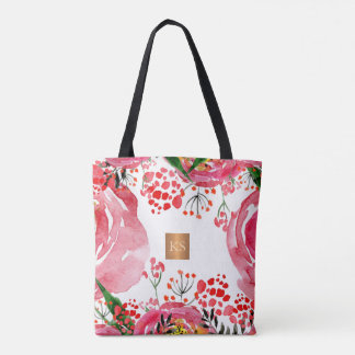 Trendy watercolor peonies metallic copper monogram tote bag