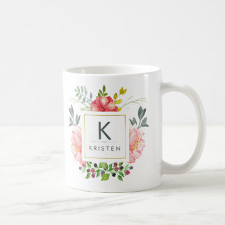 Trendy Watercolor Peony Flowers Monogram Mug