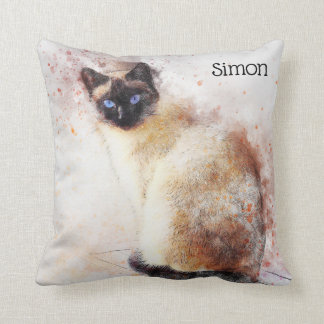 Trendy Watercolor Siamese Cat Personalized Throw Pillow