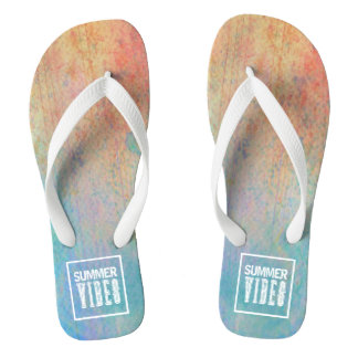 Trendy watercolor summer vibes flip flops