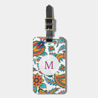 Trendy Watercolors Colorful Paisley Luggage Tag