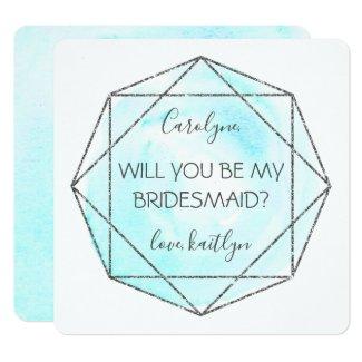 Trendy Waterecolor Diamond | Be My Bridesmaid Card