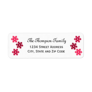 Trendy Whimsical Pink Snowflakes Return Address Label