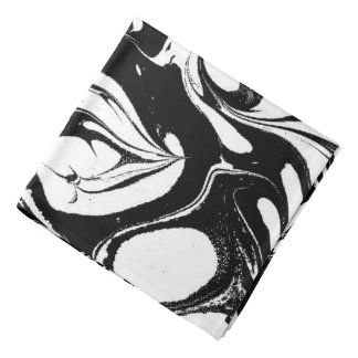 Trendy White And Black Marble Bandana