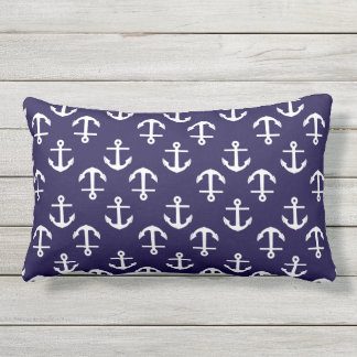 Trendy White and Blue Nautical Anchor Pattern Outdoor Pillow