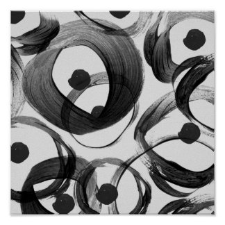 Trendy white black watercolor brushstrokes dots poster