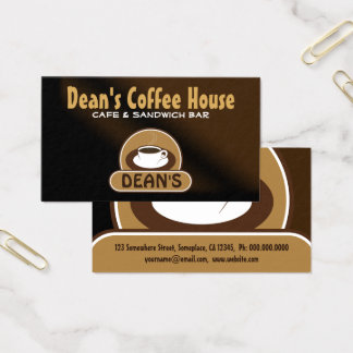 Trendy White Coffee Shop Cup Brown Satin Cafe Business Card