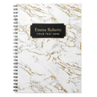 Trendy White & Gold Marble Texture Notebook