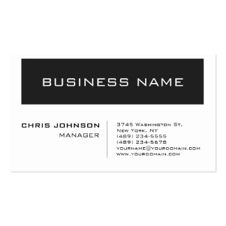 Trendy White Gray Striped Manager Business Card