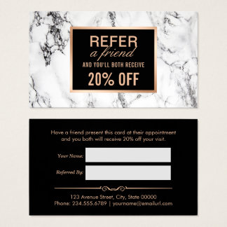 Trendy White Marble Beauty Salon Referral Business Card