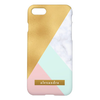 Trendy White Marble Faux Gold Foil and Pink Mint iPhone 8/7 Case
