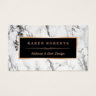 Business cards business card printing zazzle canada trendy white marble makeup artist hair salon business card reheart Choice Image