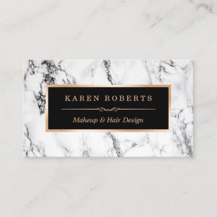 Business cards profile cards zazzle ca trendy white marble makeup artist hair salon business card reheart Image collections
