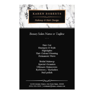 Trendy White Marble Makeup & Hair Beauty Salon Flyers