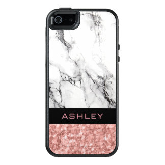 Trendy White Marble Stone And Rose Gold Glitter OtterBox iPhone 5/5s/SE Case