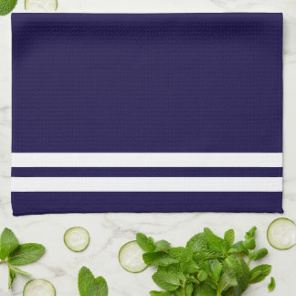 Trendy White Nautical compass on Navy Blue Hand Towel