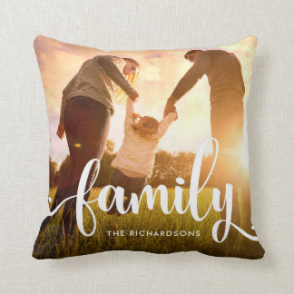 Trendy White Overlay | Your Family Photo Throw Pillow