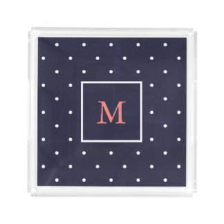 Trendy White Polka Dots on Blue | Coral Monogram Acrylic Tray