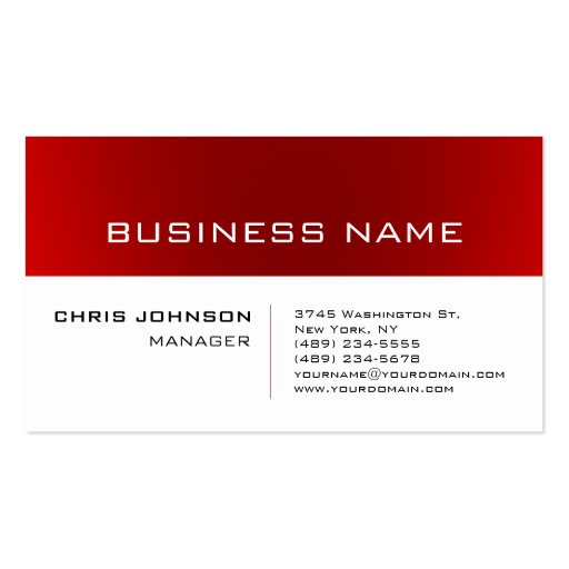 Trendy White Red Striped Manager Business Card