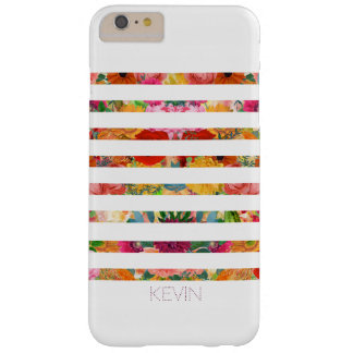 Trendy White Stripes Over Floral Collage Barely There iPhone 6 Plus Case