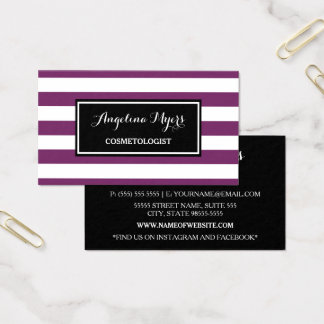 Trendy Wide Purple and White Stripes Cosmetologist Business Card