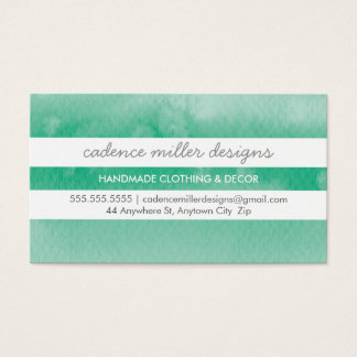 TRENDY WIDE STRIPE ombre watercolor emerald green Business Card