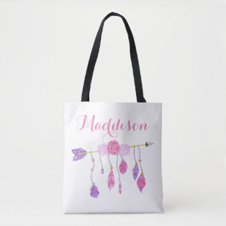 Trendy Women's Teen Girls Boho Arrow Feather Rose Tote Bag