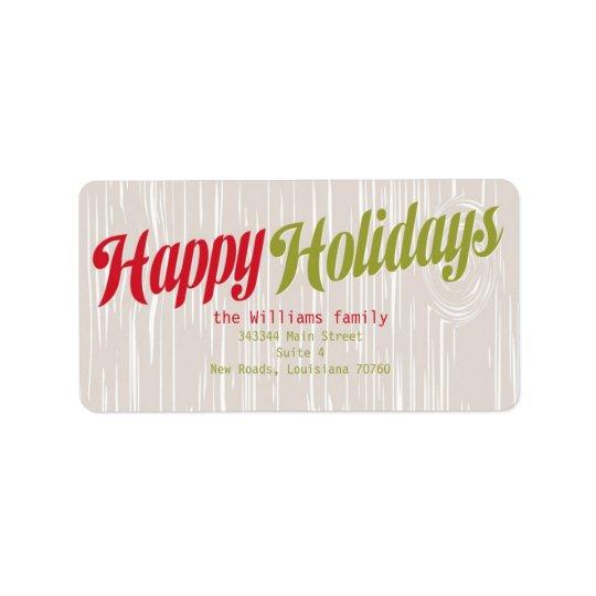 Trendy Wood Grain Holiday Label