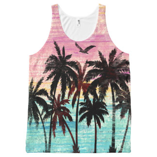 Trendy worn out beach palm tree print All-Over-Print tank top