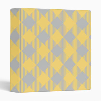 Trendy Yellow and Gray Check Gingham Pattern 3 Ring Binder