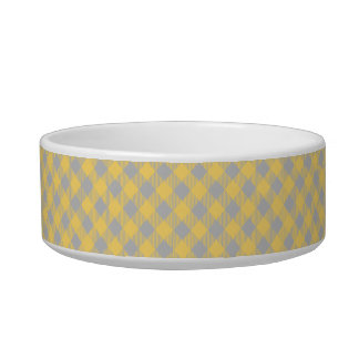 Trendy Yellow and Gray Check Gingham Pattern Bowl