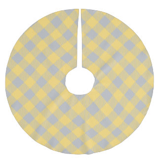 Trendy Yellow and Gray Check Gingham Pattern Brushed Polyester Tree Skirt