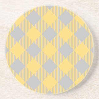 Trendy Yellow and Gray Check Gingham Pattern Coaster