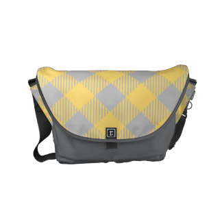 Trendy Yellow and Gray Check Gingham Pattern Courier Bag