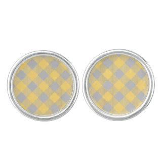 Trendy Yellow and Gray Check Gingham Pattern Cufflinks