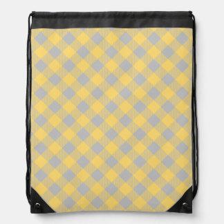 Trendy Yellow and Gray Check Gingham Pattern Drawstring Bag
